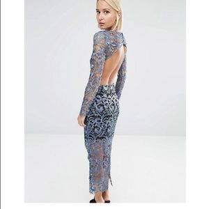 Lace overlay Dress Open Back size 10